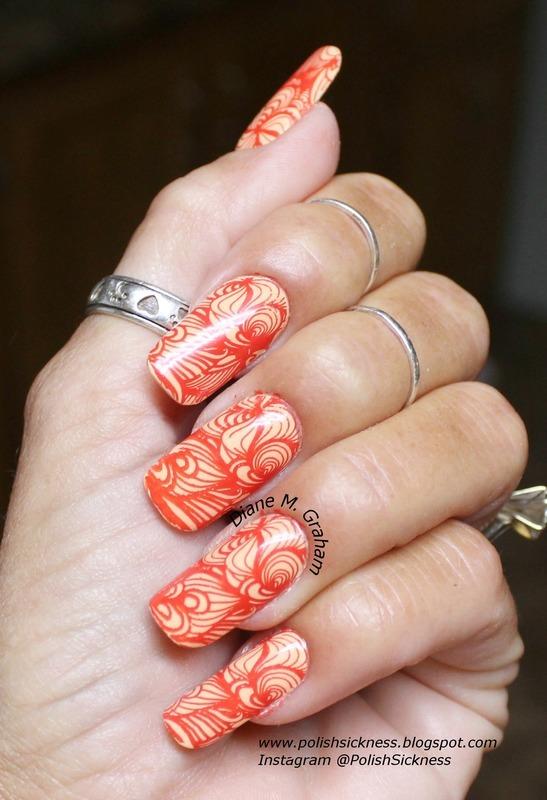 Orange nail art by PolishSickness