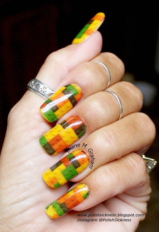 Lego Nails nail art by PolishSickness