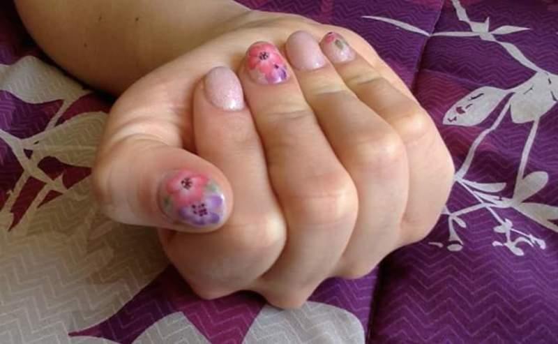Acrylic shimmer nails nail art by Ro Ags