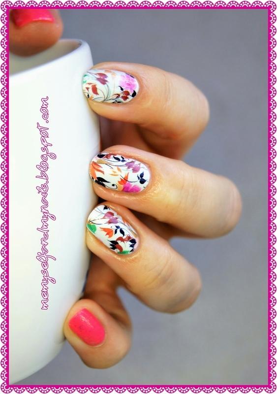 Autumn flowers nail art by ELIZA OK-W
