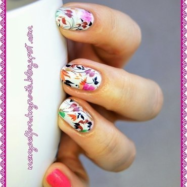Autumn flowers nail art by ELIZA OK-W