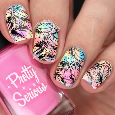 Pastel Neon Feathers nail art by Emiline Harris