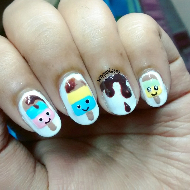 Popsicle or Ice-Cream nail art by Sohini  Sengupta