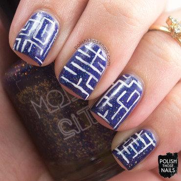Blue holo white maze nail art 4 thumb370f