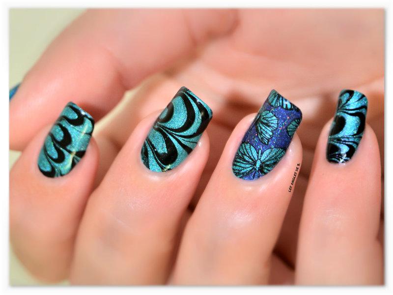 Bleu & Turquoise nail art by Les ongles de B.