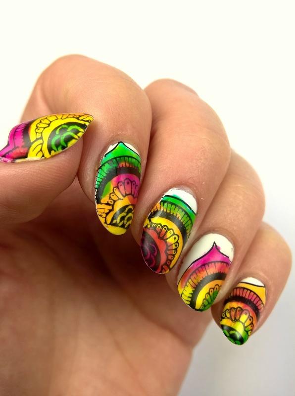 Sheer tints nail art by Pulinka
