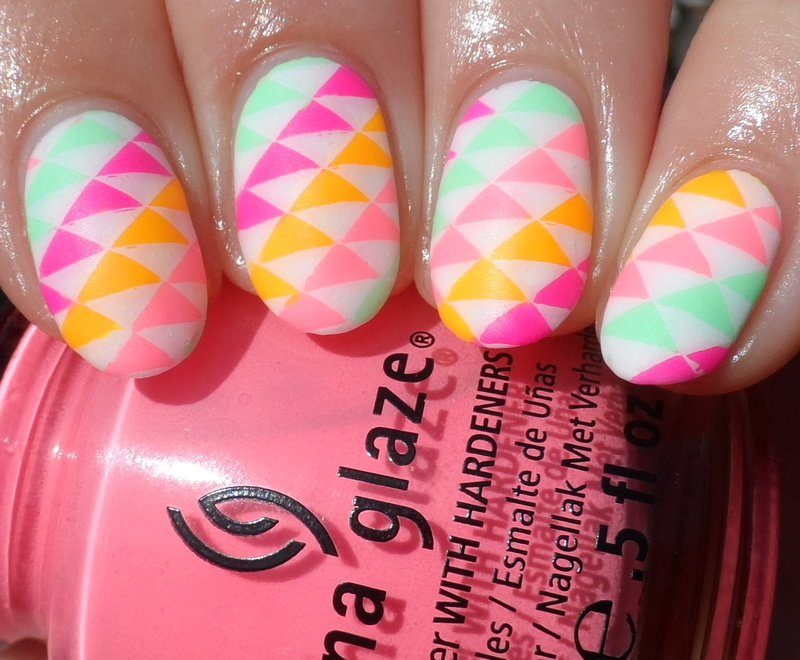 Neon Triangles nail art by Plenty of Colors