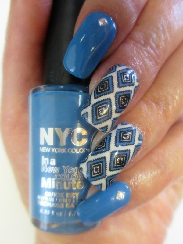 Blue Diamonds nail art by NinaB