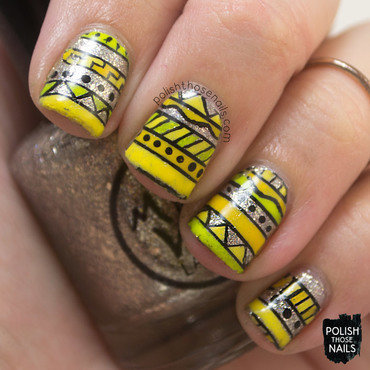 Silver glitter yellow tribal nail art 4 thumb370f