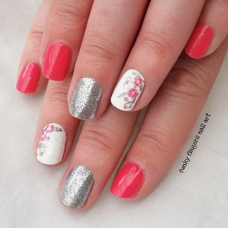 Pink and silver flowers nail art by Funky fingers nail art