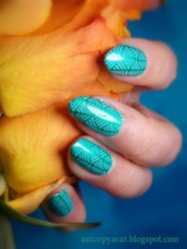 Tropical leaves nail art by notcopyacat