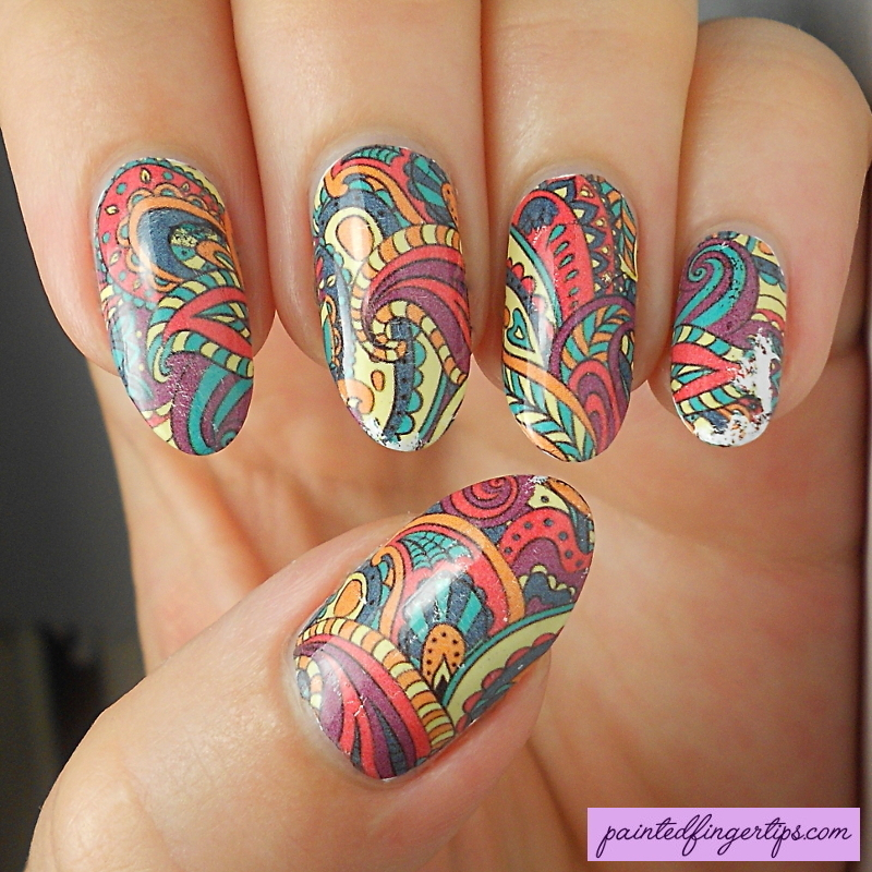 Full-nail patterned water decals nail art by Kerry_Fingertips