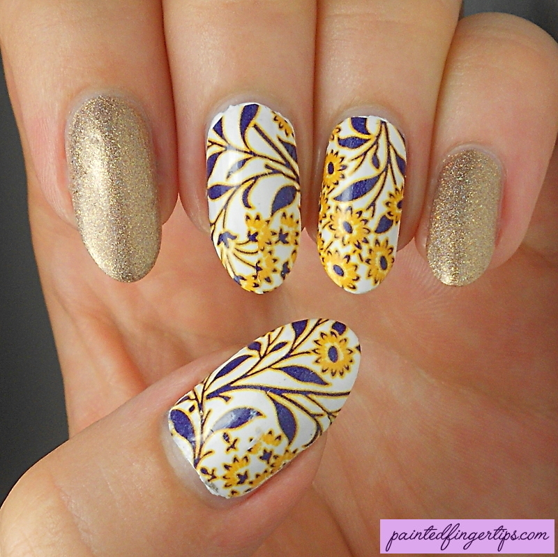 Yellow flower water decals nail art by Kerry_Fingertips