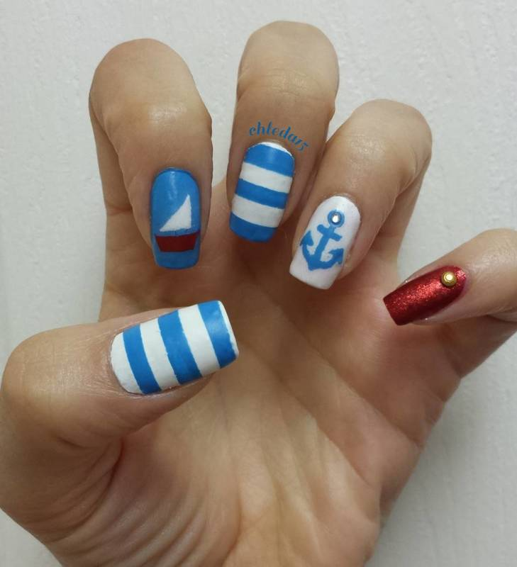 Typical Nautical nail art by chleda15