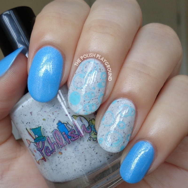 Light Blue Underwater Bubbles Stamping nail art by Lisa N