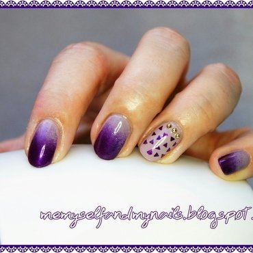 PURPLE TRIANGLES nail art by ELIZA OK-W