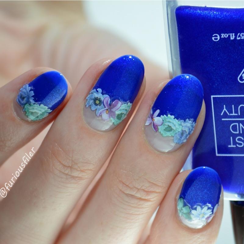 Floral Hair Band nail art by Furious Filer