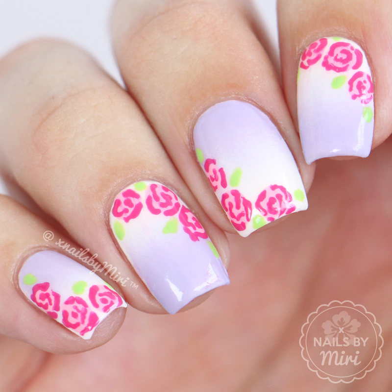 Gradient With Roses nail art by xNailsByMiri