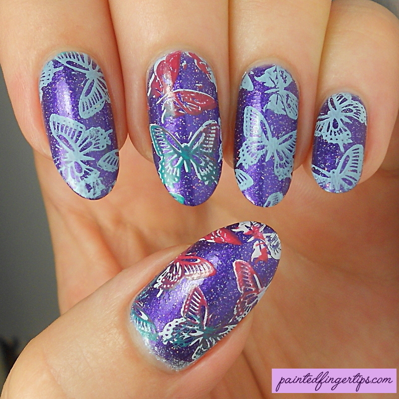 Butterfly stamping nail art by Kerry_Fingertips