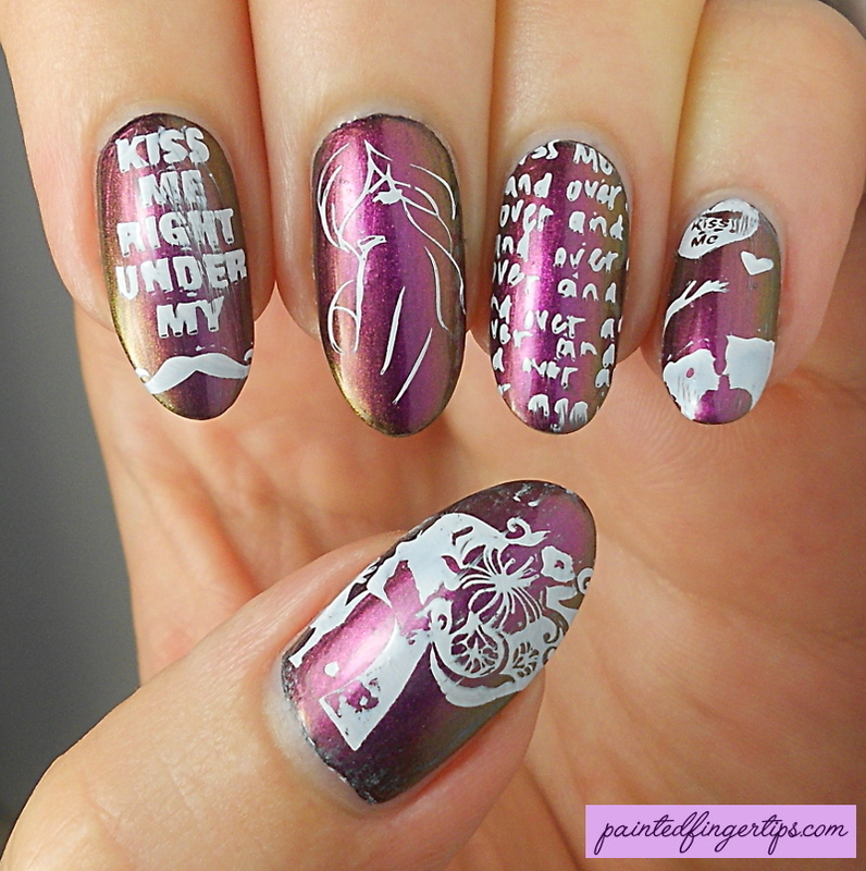 Kiss stamping nail art by Kerry_Fingertips