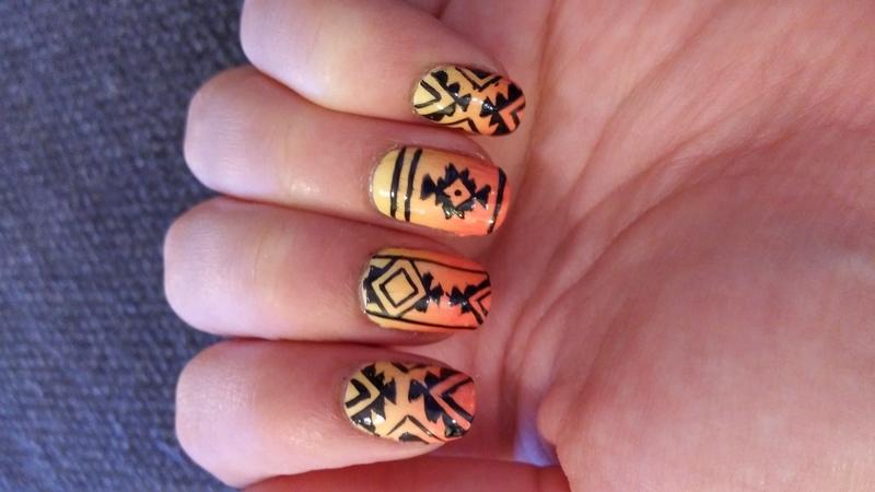 aztec tribal nail art by Maya Harran
