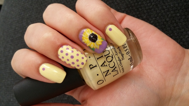 sunflower nail art by Maya Harran