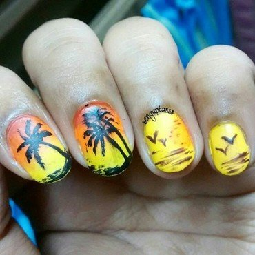 Silhouette Sunset nail art by Sohini  Sengupta