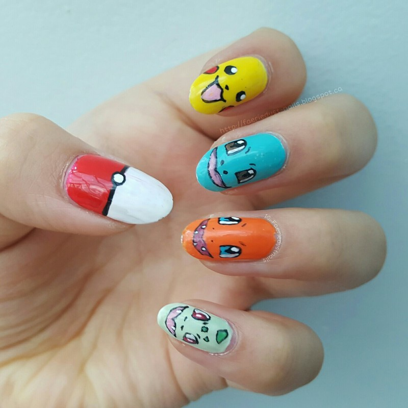 Starter Pokemon nail art by Shirley X.