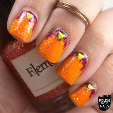 Orange glitter neon purple studs nail art 4 thumb370f