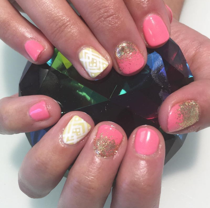Glittery Fun nail art by Kristen Lovett