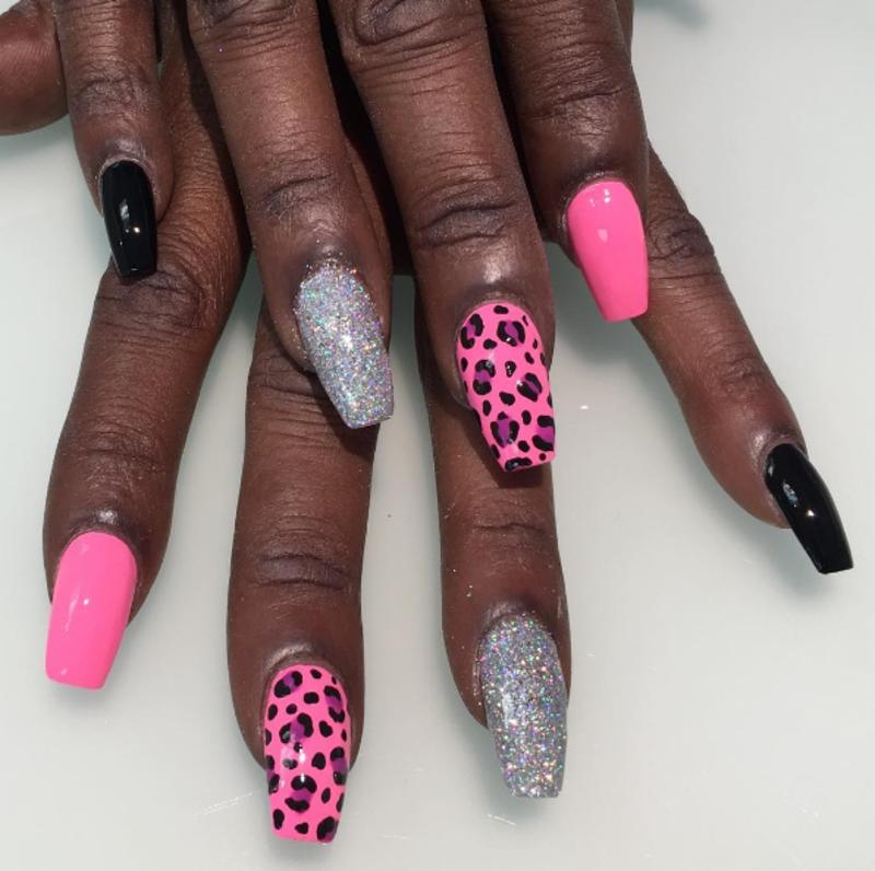 Pink Leopard nail art by Kristen Lovett