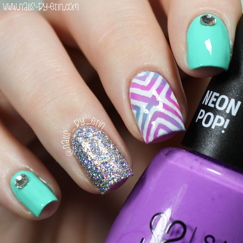 Neon Gradient X Nails nail art by Erin