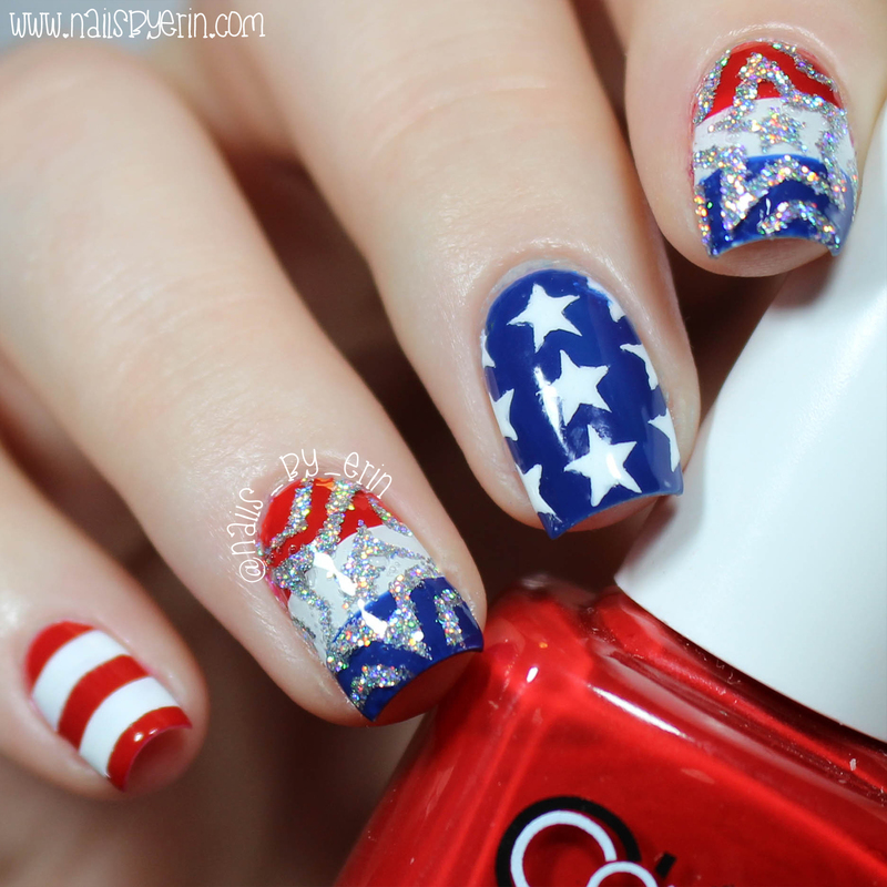 Mix & Match 4th of July Nails nail art by Erin