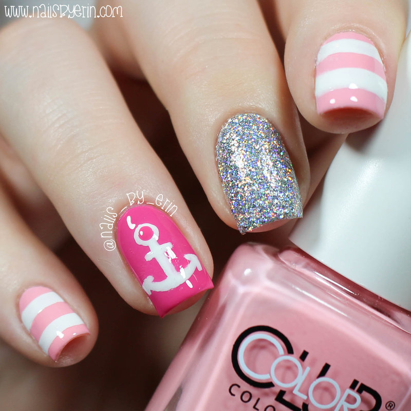 Pink Nautical Nails nail art by Erin