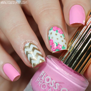 Pink and Gold Floral Nails nail art by Erin