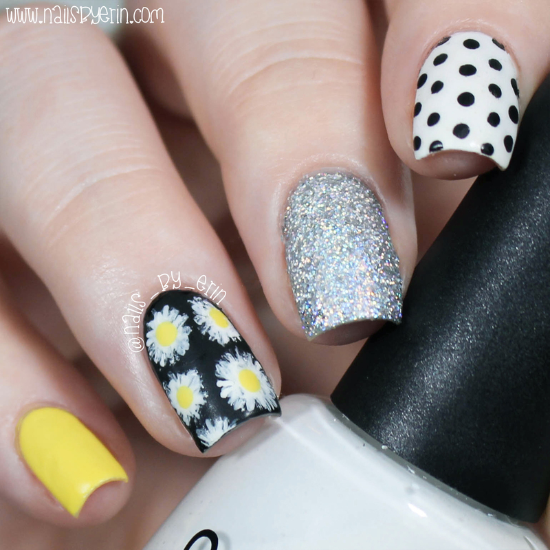 Matte Daisy Nails nail art by Erin