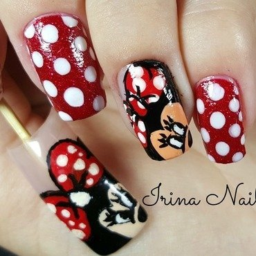 Minnie Mouse Nail art nail art by Irina Nail