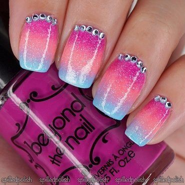 Tropical Neon Gradient nail art by Maddy S