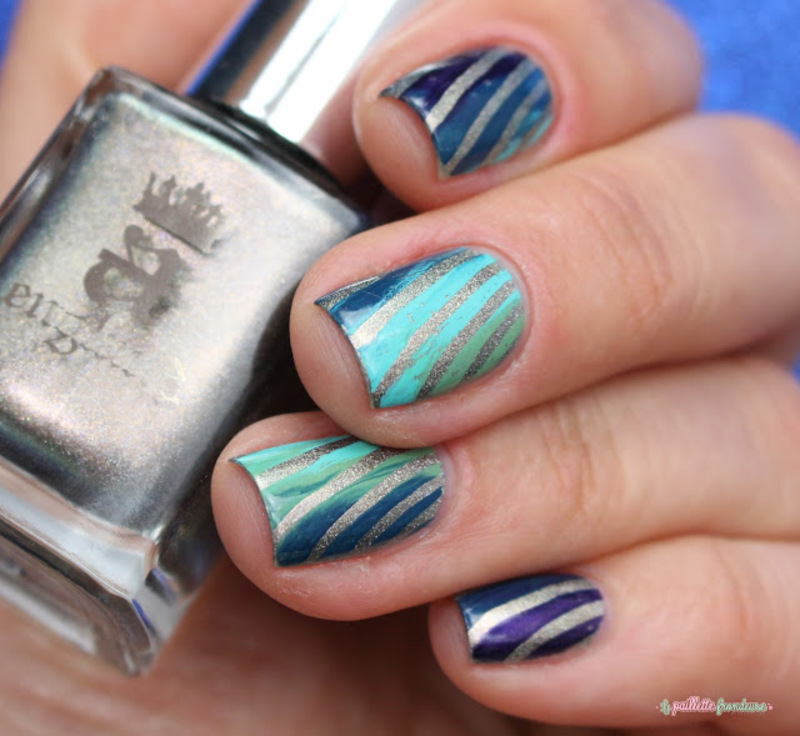 Teal rainbow nail art by nathalie lapaillettefrondeuse
