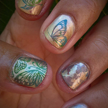 Metallic Butterflies nail art by Avesur Europa