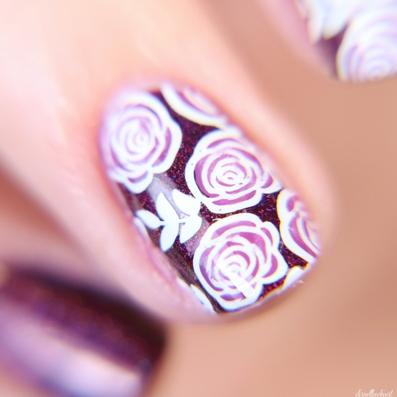 Rose Stamping nail art by dirndllackiert