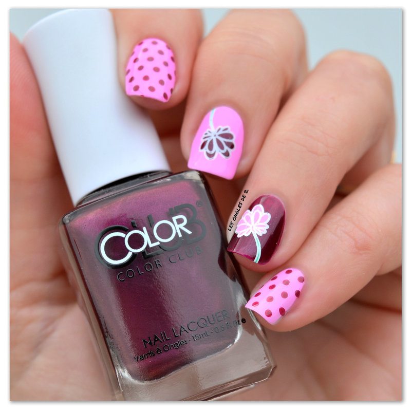 Pink nail art by Les ongles de B.