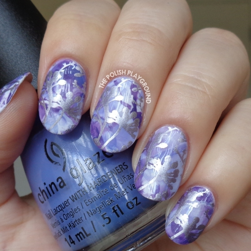 Purple Stamping Marble with Silver Floral Stamping nail art by Lisa N