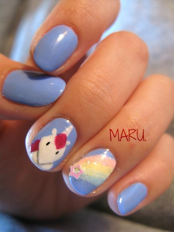 Unicorn nail art by Martina