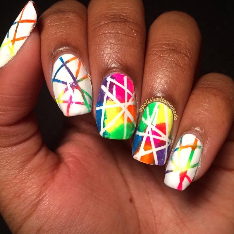 Rainbow skating rink floor??? nail art by Lawri
