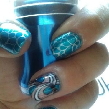 nautical blues nail art by Sunny