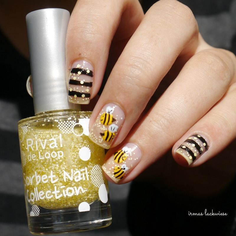 negtive space bee nailart nail art by irma