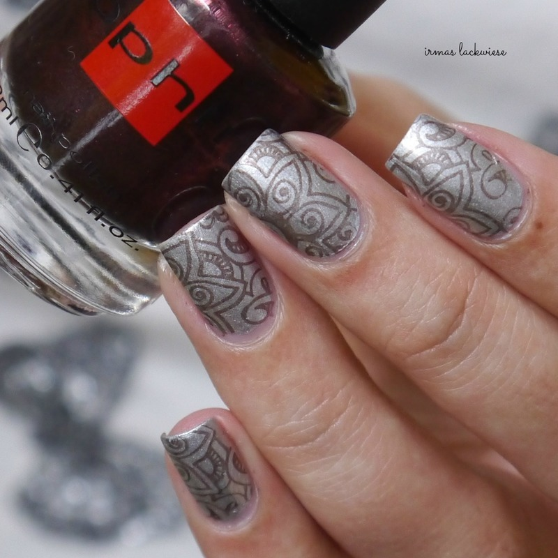 silver henna stamping nail art by irma
