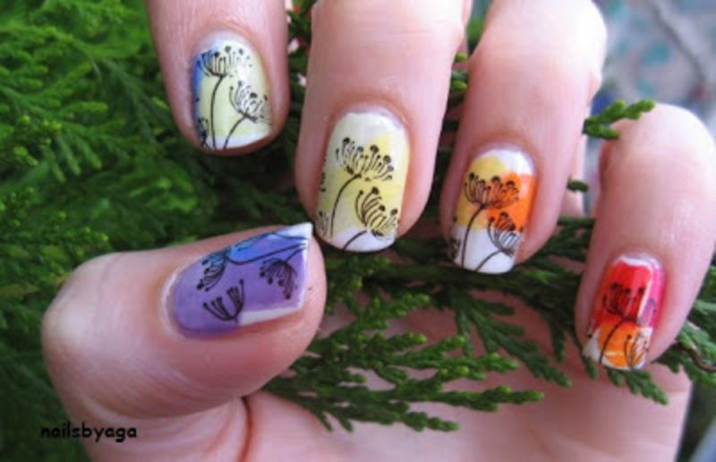 Rainbow nail art by agazar30