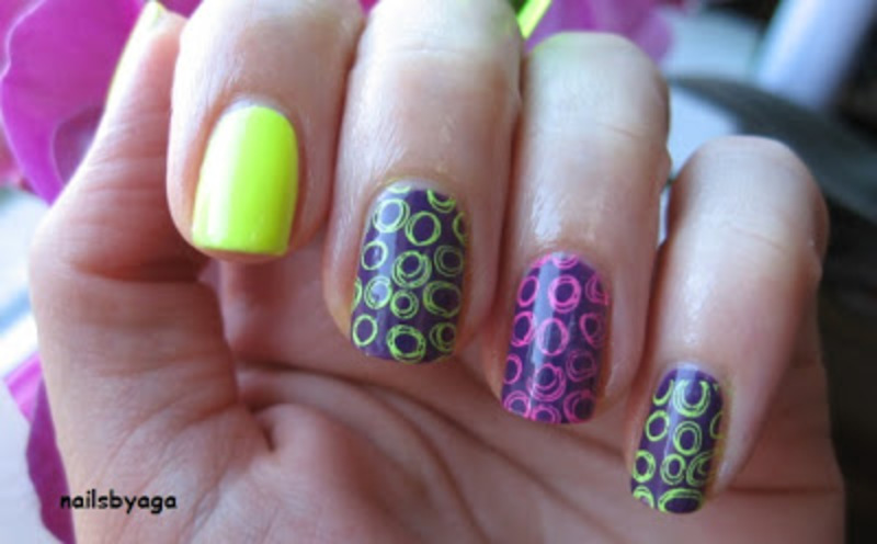 Neon stamping nail art by agazar30